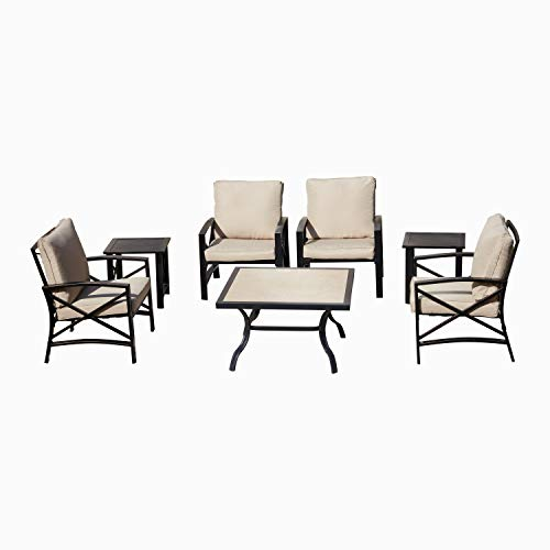 LOKATSE HOME 7 Piece Outdoor Dining Table Set,Patio Cushioned Furniture Set Conversation Chairs Set with Table (Khaki) (Sets Garden Furniture Seater Metal 8)