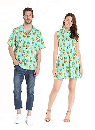 Couple Matching Hawaiian Luau Cruise Outfit Shirt Dress Halloween Pineapple Skull Men M Women M -
