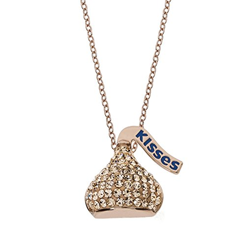 Hershey's Kisses Rose Gold Plated Sterling Silver Peach Crystal Kiss Pendant Necklace, - Crystal Peach Necklace