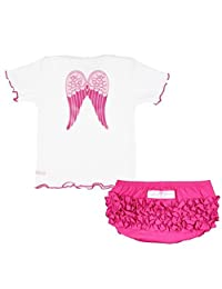 Theplus Baby Girl Angel Wing Short Sleeve T-Shirt+Triangle Pant Sets