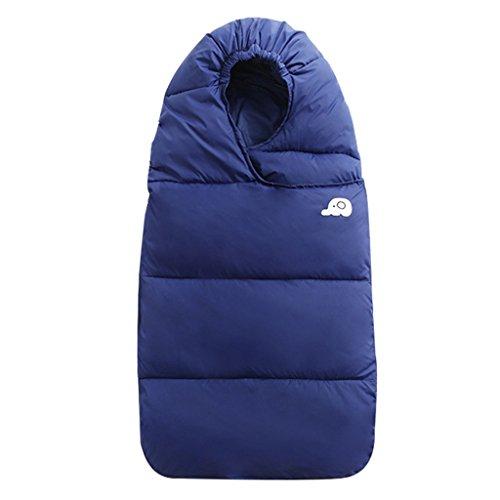 Bebé Saco de dormir Para invierno Pluma abajo Algodón Grueso Recién nacido Envolverse Con Cremallera 93cm,Oscuro Azul