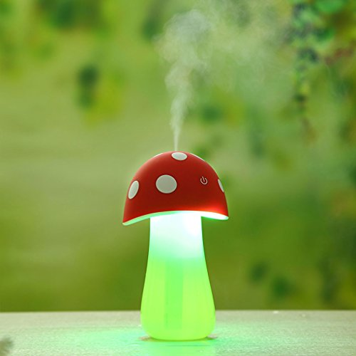 Allrise Cute Mushroom Aromatherapy Essential Oil Diffuser, Ultrasonic Cool Mist Humidifier / Aroma Diffuser Mini USB LED Light Cool Mist for Bedroom Nursery Yoga Spaor Desk , 200mL (red) (Crane Hippo)