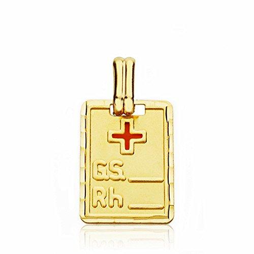 Pendentif 18k plaque or rouge groupe sanguin croix 16mm RH. [AA2660]