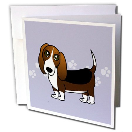 Hound Postage (Janna Salak Designs Dogs - Cute Basset Hound - Cartoon Dog - Blue with Pawprints - Greeting Cards-1 Greeting Card with envelope)