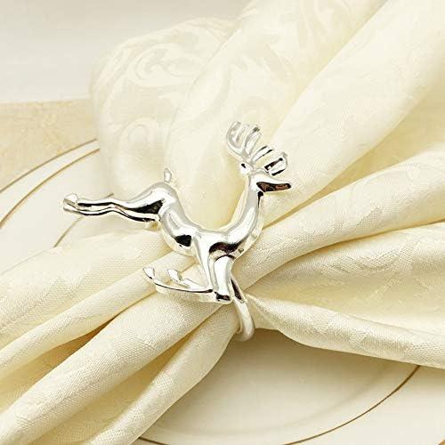 TOOGOO Christmas Deer Napkin Ring 12Pcs Circle Silver Napkin Buckle Hotel Wedding Table Decoration