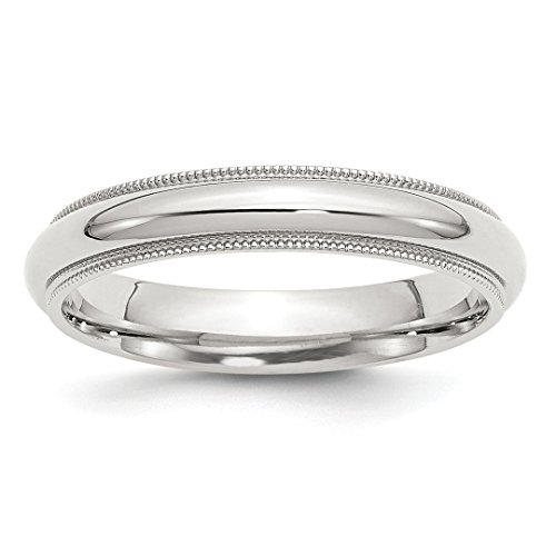 925 Sterling Silver 4mm Milgrain Comfort Fit Wedding Ring Band Size 11.00 Classic Half Round Fine Jewelry For Women Gift ()