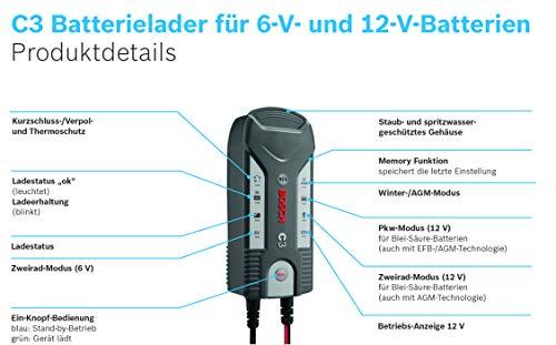 41z34O99kyL Bosch C3 - intelligentes und automatisches Batterieladegerät - 6V-12V / 3.8A - für Blei-Säure, GEL, Start/Stopp EFB…