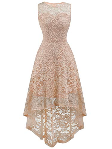 - FAIRY COUPLE Women's Vintage Floral Lace Hi-Lo Sleeveless Cocktail Formal Swing Dress DL022A (2XL,Apricot)