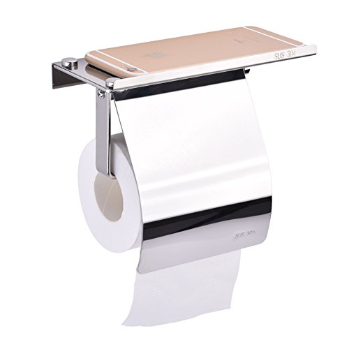TOPINCN Wall Mounted Tissue Holder, SUS304 Stainless Steel Bathroom Toilet Paper Holder with Mobile Phone Storage