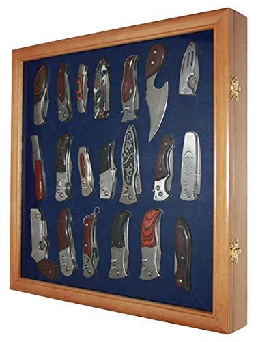 Pocket Knife Display Case Cabinet Shadow Box, glass door, Wall Mountable (Oak Finish)