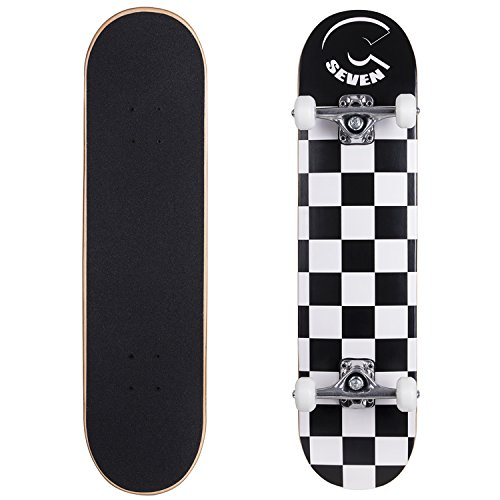 "Cal 7 Complete Skateboard, Popsicle Double Kicktail Maple Deck, Skate Styles in Graphic Designs (7.5"" Checkerboard)"