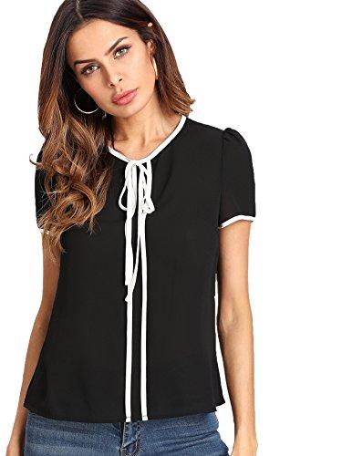 - Floerns Women's Summer Casual Short Sleeve Tie Bow Neck Chiffon Blouse Top Black L