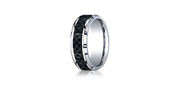 Comfort Fit Cobalt Chrome Anniversary Ring CO4200 Men/'s 8mm Beveled Edge Ring Rose Gold IP w Black Carbon Fiber Inlay Center