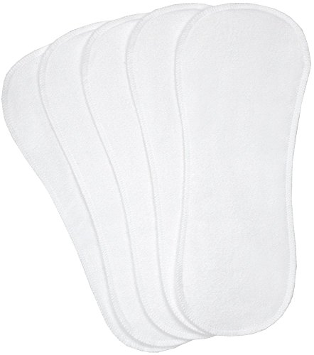 Kushies Washable 5 Piece Diaper Liners Pack, White, Infant/Toddler