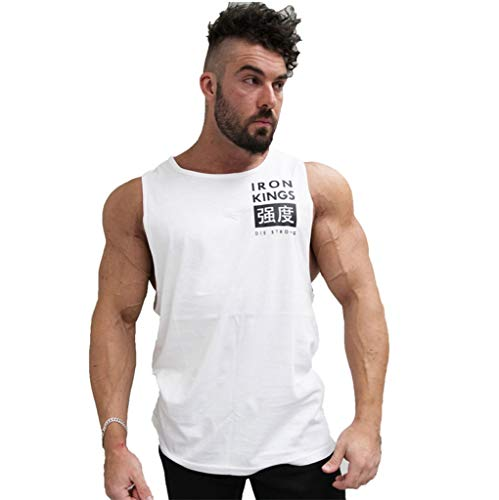 Hivot Men's Tank Tops Solid Color Round Neck Sleeveless T-Shirts Short Sleeve Sports Tee Shirt Polos Blouse White
