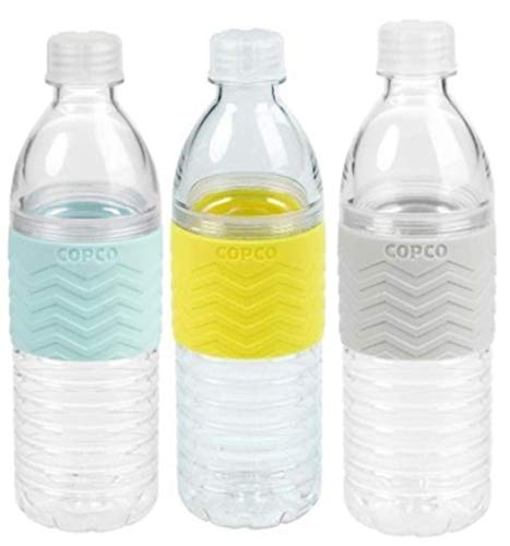 Copco Hydra Reusable Tritan Water Bottle Spill Resistant Lid Non-Slip Sleeve, 16.9-Ounce, 3 Pack (Blue, Yellow, Gray)