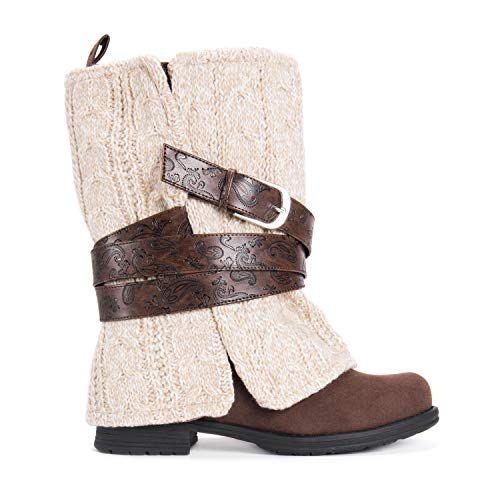 MUK LUKS Women's Nikita Heel Boot Fashion, Brown, 6 (Dresses Sweater Boots)
