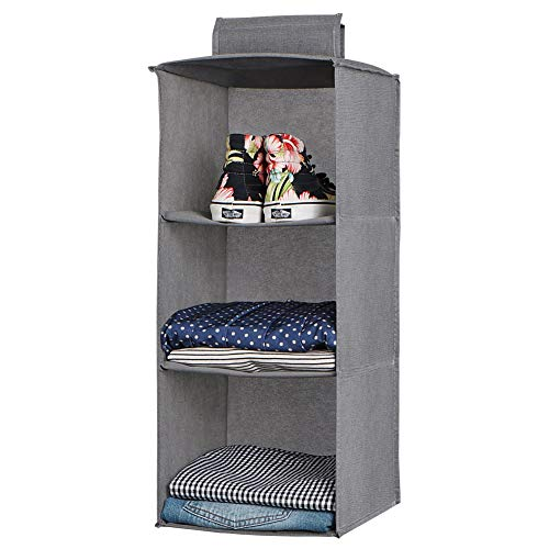(jiatushuma Hanging Closet Organizer,Hanging Shoe Shelves,3 Shelf Hanging Organizer Made by Non-Woven Fabric,Lightweight,Non-irritating,Foldable,Keep Your Wardrobe Clean & Tidy. Easy Mount.)