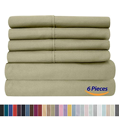 Sweet Home Collection Queen Sheets-6 Piece 1500 Thread Count Fine Brushed Microfiber Deep Pocket Set-2 EXTRA PILLOW CASES, VALUE, Sage