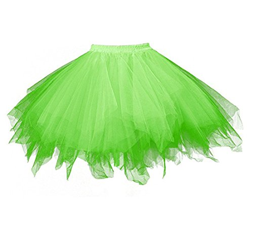 Green Tutu (Kileyi Womens Tutu Costume Adult Tulle Skirt Short 1950s Vintage Fluffy Petticoat Grass L)