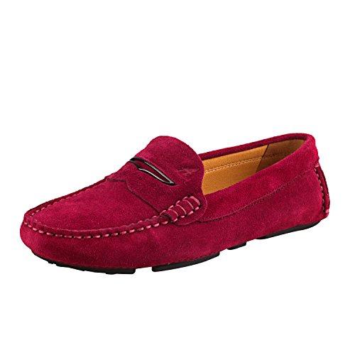 Shenduo Zapatos Casuales - Mocasines de cuero sueve cómodos antideslizantes para mujer D9123 Rojo
