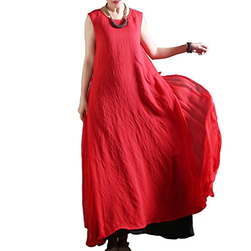 color Mallty Maniche Red Dress Due Xl Senza Size Red A Pezzi Girocollo Swing Maxi rqwvYrz