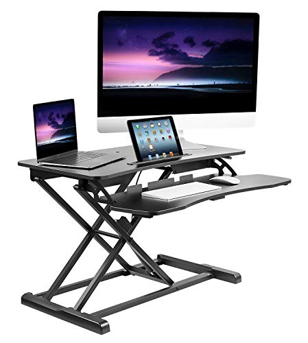 (Mount-It! Adjustable Standing Desk Converter with Keyboard Tray, Ergonomic Tabletop Sit Stand Worksation 31.5 Wide for Desktop and Laptop)
