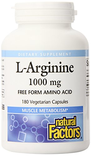 Factores naturales cápsula de L-arginina, 1000mg, 180 cuenta