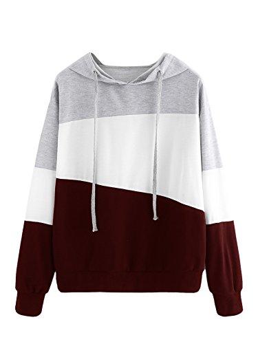 SweatyRocks Womens Color Block Lightweight Long Sleeve Pullover Hoodie