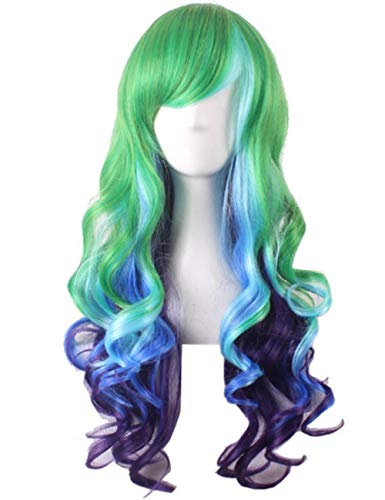 Long Wavy Multi-Color Wig Heat Resistant Wig for Cosplay Girls Party Wig 24 Inches, Green and Blue]()