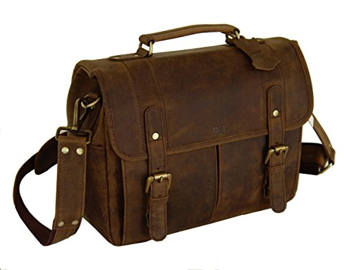 Vintage Rustic Look Leather Camera Messenger Bag By BASIC GE