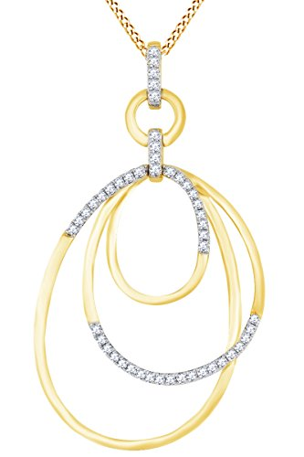 Round White Natural Diamond Open Oval Frame Pendant Necklace in 14k Solid Yellow Gold (0.31 Ct) (Yg 14k Frame)