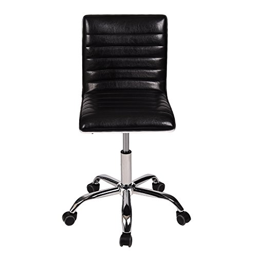 YOURLITE Swivel Mid Back Task Chair, Adjustable Soft Leather Padded Office Chair, Set of 2, Black by YOURLUITE (Image #5)