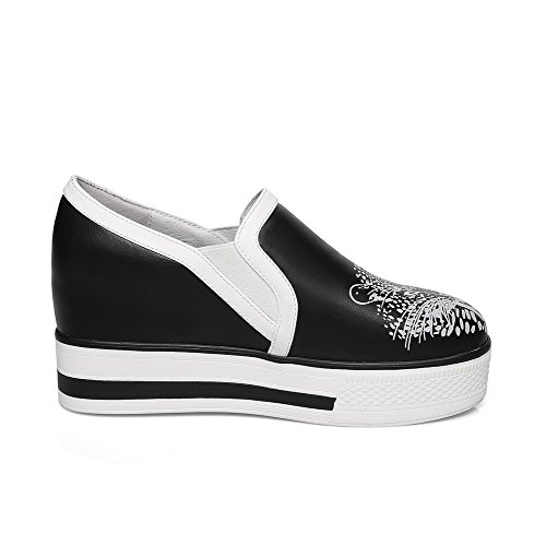AllhqFashion Mujer Tacón medio Estampado PU Puntera Cerrada ZapatosdeTacón Slip-on Negro
