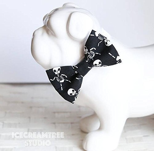 Black Skeleton - Bow Tie Collar Slide On, Collar Add On Bowtie, Bow Collar Accessories