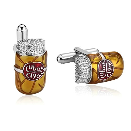 - Mens Cufflinks Stainless Steel Yellow Enamel Color Cuban Cigar 2X1.2CM Dad Unique Gift Box Fancy Elegant Aooaz