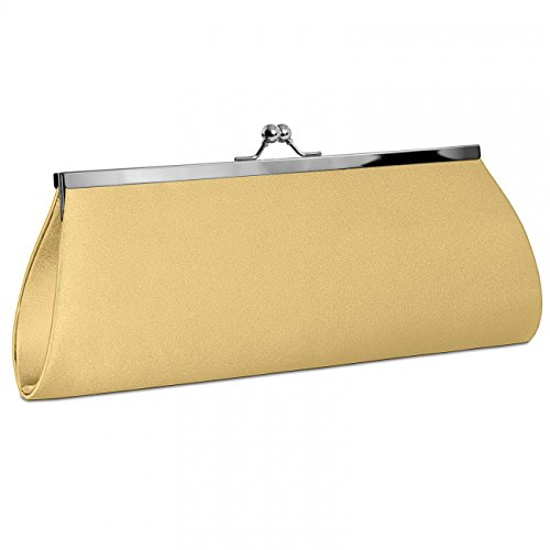 Gold many Clutch Classic Bag Elegant Evening Clasp colours with Metal Womens Satin CASPAR TA309 qatOvw