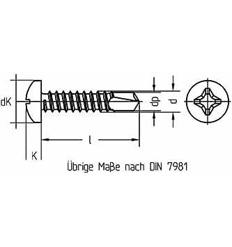 Reidl Bohrschrauben Blechschrauben mit Bohrspitze 4,8 x 110 mm DIN 7504 Stahl galv verzinkt farblos 100 St/ück