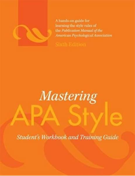 Amazon Com Mastering Apa Style Student S Workbook And Training