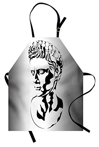 Ambesonne Toga Party Apron, Graphic Statue Design of Augustus Roman Emperor Ruler Ancient Artwork, Unisex Kitchen Bib Apron with Adjustable Neck for Cooking Baking Gardening, Grey Black White ()