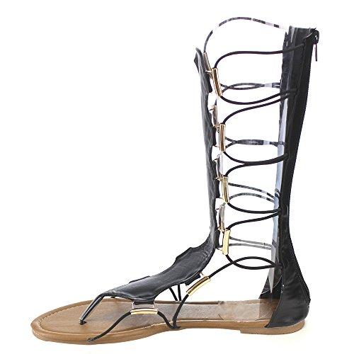 Blauwe Suède Schoenen Lille-tall-h Vrouwen Kalf-hoge String Platte Gladiator Sandalen, Kleur: Zwart, Maat: 8,5