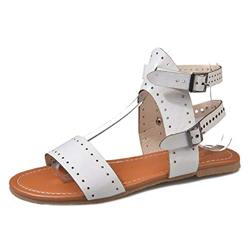 TRFLH& Women Sandals 2019 Flat Gladiator Leather Sandals Summer Shoes Woman Rome Style Double Buckle Casual Beach Sandles Plus Size 43 White 40