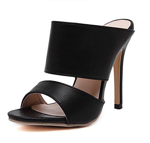 Aisun Women's Classic Simple Open Toe Dress Slip On Stiletto High Heels Slide Sandals Mules Shoes