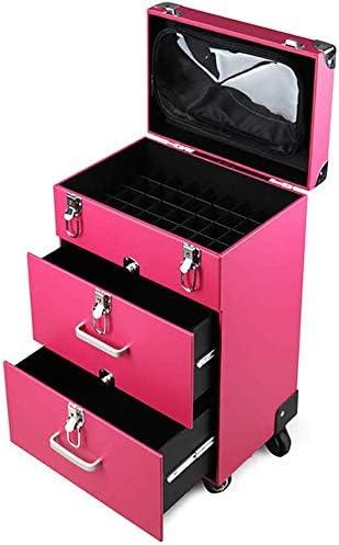 HUJPI 4 en 1 Trolley Estuche de Maquillaje, Profesional Maletín para Maquillaje Maleta Maquillaje con Ruedas Maletín para Cosméticos,Pink: Amazon.es: Hogar