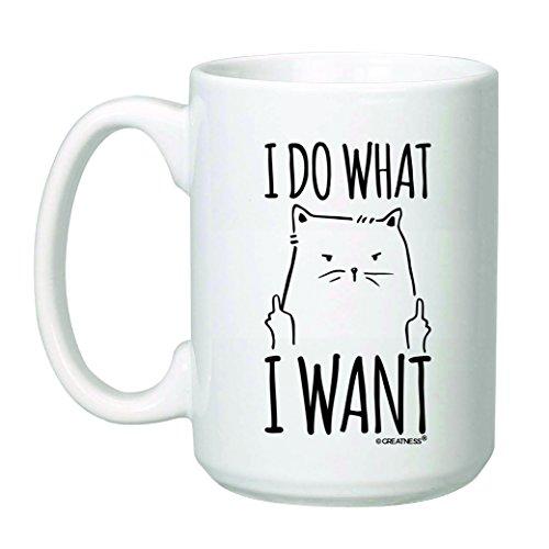 15 oz I Do What I Want Cat Coffee Mug - Funny Grumpy Cat - Rude Cat - Bold Cat Statement