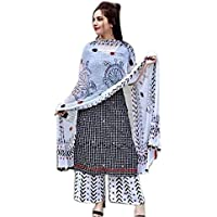 Dream Creations Cotton Kurti with Palazzo and Chunni Set for Women and Girls Black