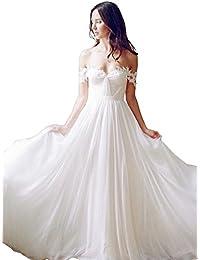 Off The Shoulder A Line Long Chiffon Bridal Beach Wedding Dress