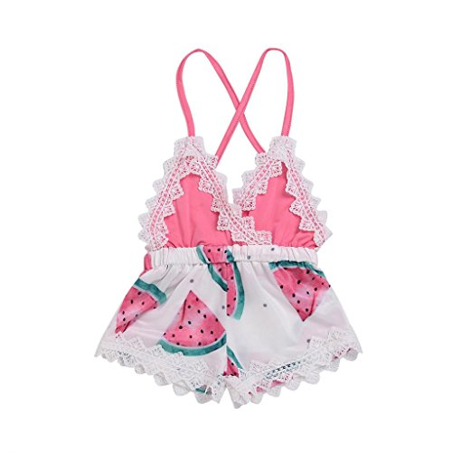 FEITONG Infant Baby Girls Romper Watermelon Print Lace Backless Strap Jumpsuit Outfits Clothes]()
