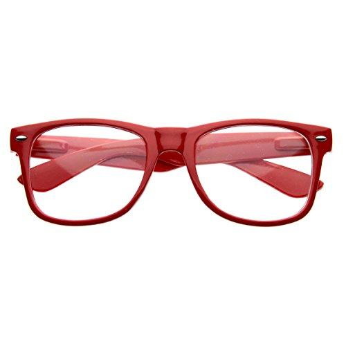 Standard Retro Clear Lens Nerd Geek Assorted Color Horn Rimmed Glasses ()