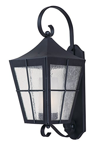 Maxim 85334CDFTBK Revere 1-Light Outdoor Wall Lantern, Black Finish, Seedy/Frosted Glass, GU24 Fluorescent Fluorescent Bulb , 26W Max., Wet Safety Rating, 2700K Color Temp, Glass Shade Material, 1760 Rated Lumens